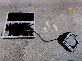 bansky tv out the window