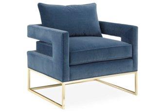 One Kings Lane Bevin Velvet Accent Chair