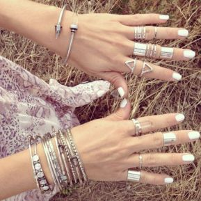 Silver rings with white mani