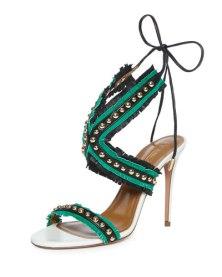 Studded fringe sandals by Aquazurra